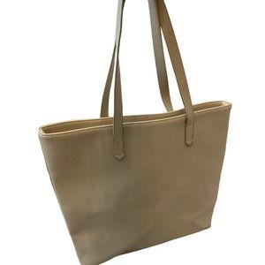 Cream Large Tote Shoulder Bag Purse Vegan Leather